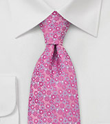 Pink Silk Tie with Lavender Flowers