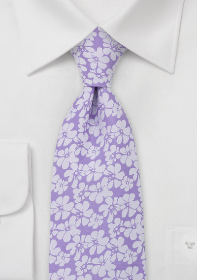 Lavender Tie with Hibiscus Flowers