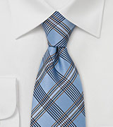 Plaid Silk Tie in Copper Light Blue