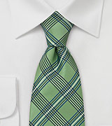 Green Plaid Pattern Silk Tie