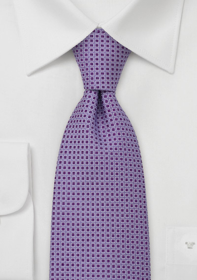Lavender Tie with Purple Checks