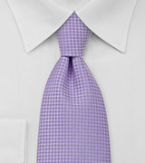 Checkered Pattern Lavender Mens Tie