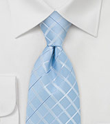 Tie with Light Blue Check Pattern