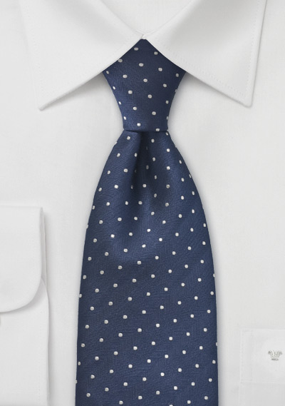 Navy Blue Silver Polka Dot Tie