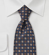 Designer Silk Tie Navy and Brown