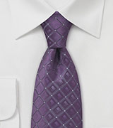 Mens Lavender Check Pattern Tie