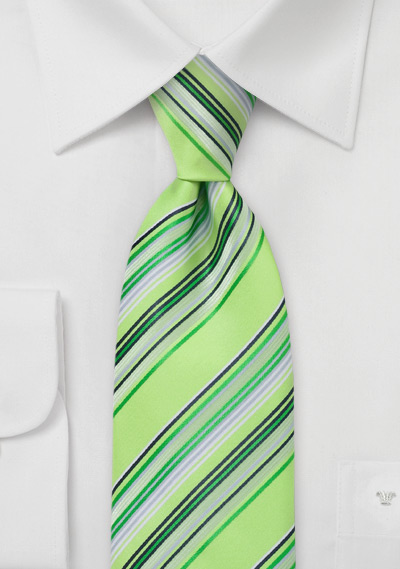 Chartreuse Green Striped Tie