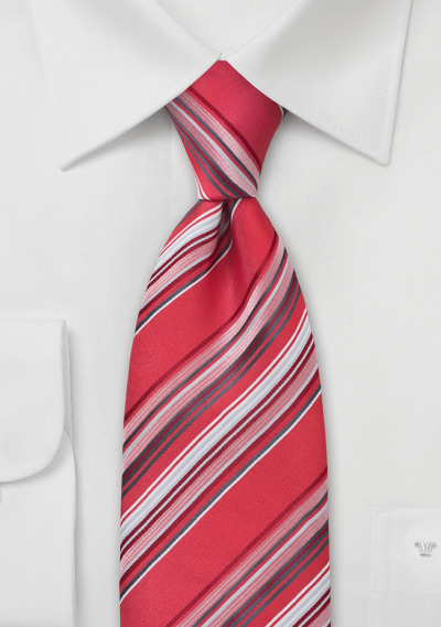 Coral Red Striped Tie in Boys Length