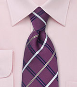 Mens Purple Tie with Check Pattern