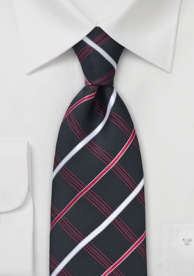 Black, Red, Silver Checkered Tie
