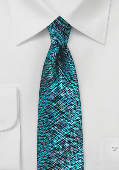 Skinny Teal and Black Necktie