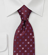 Maroon and Blue Silk Tie