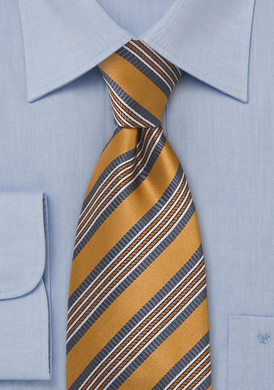 Golden Bronze Striped Silk Tie
