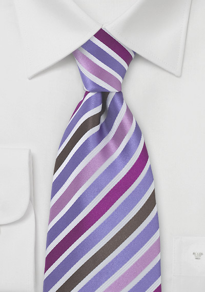 Silk Tie in Pink, Purple, Brown