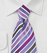 Purple and Brown Striped Tie
