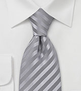 Silver-Gray Silk Tie for Kids