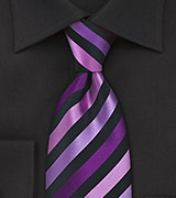 Purple and Black Striped Tie