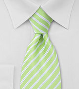 Lime Green and White Extra Long Necktie