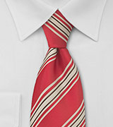Red and Tan Striped Tie