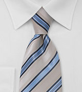 Necktie in Taupe and Blue