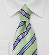 Lime and Purple Striped Tie