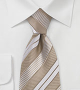 Caramel and Tan Striped Tie