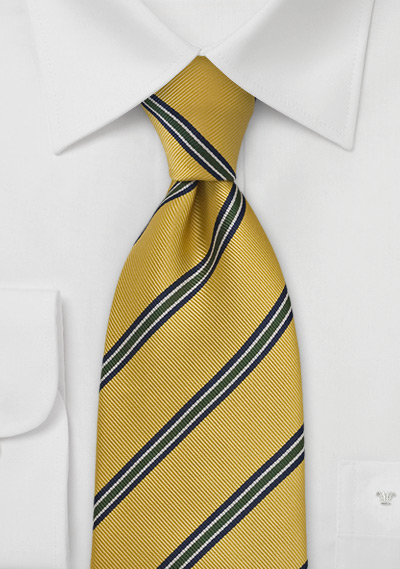Golden Yellow Repp Striped Kids Tie