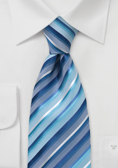 Marine Blue Striped Silk Tie