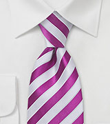 Preppy Pink and White Silk Tie