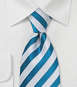 Bright Blue & White Striped Tie