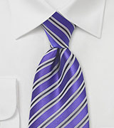 Striped Tie in Kings Purple
