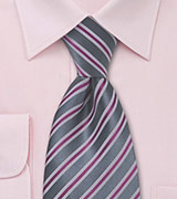 Dark Grey and Sangria Striped Tie