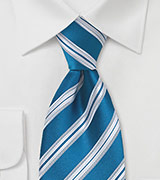 Extra Long Teal Blue Striped Tie