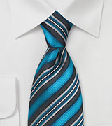 Turquoise Striped Silk Tie