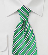 Kelly Green & Navy Striped Tie