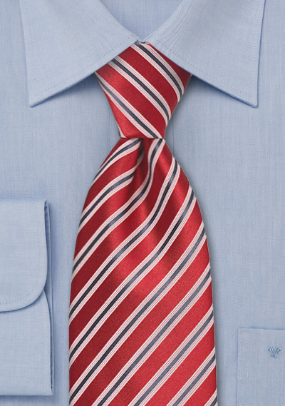 Red & Gray Striped Silk Tie