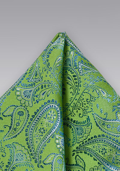 Bright Green and Blue Paisley Pocket Square