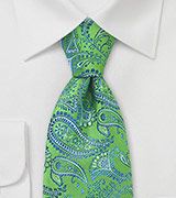 Trendy Green Blue Paisley Tie