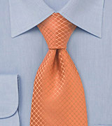 Trendy Orange Silk Tie in XL Length
