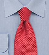 Red XL Silk Designer Tie
