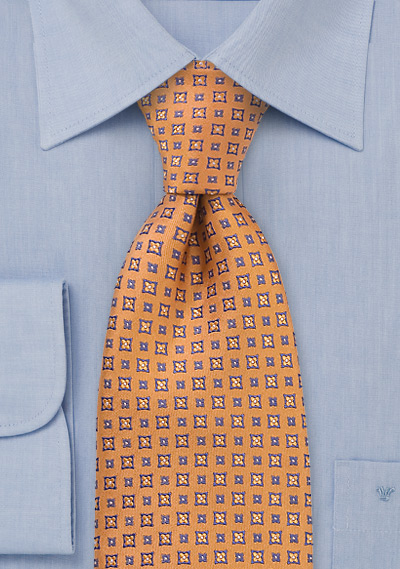 Tangerine with Blossom Print Tie