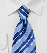 Striped Tie in Marine Blues