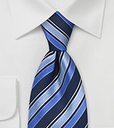 Trendy Blue Striped Silk Tie
