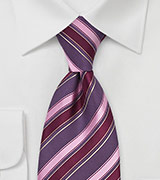 Striped Tie in Pink, Purple, Maroon