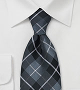 Tartan Check Tie in Black, Gray