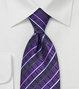 Purple Checkered Silk Tie