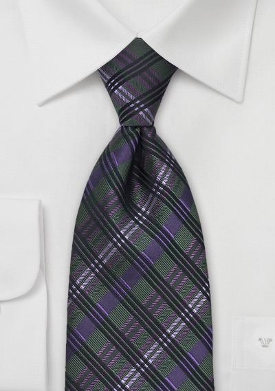 Checkered Tie in Green & Purple