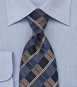 Retro Check Tie in Brown, Blue, Black
