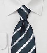 Striped Tie in Teal and Silver