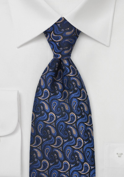 Navy and Brown Paisley Tie